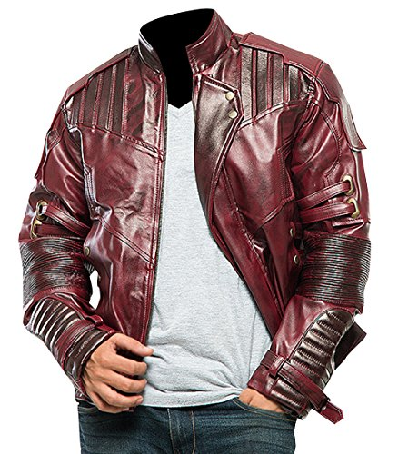 Star Lord Biker Chris Guardians Quill Distressed Maroon Leather Galaxy Vol 2 Jacket