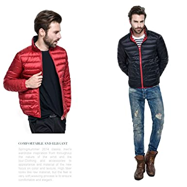 50cf1e364dc Cessbo 2018 New 90% White Duck Down Jacket Winter Slim Zipper Men Light Down  Coat Solid Portabl Outwear Double Colors at Amazon Men's Clothing store: