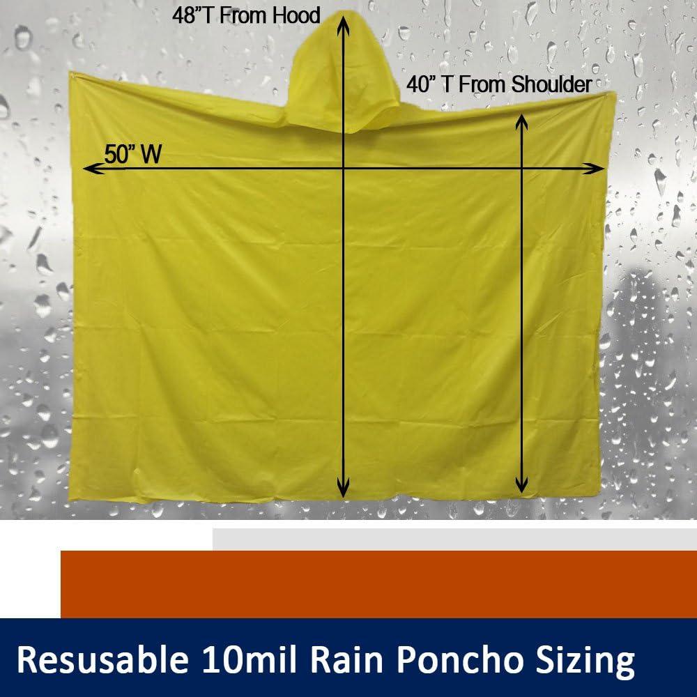 Fishing Camping Festivals SARA GLOVE Adult 10 Mil Waterproof Reusable Rain Ponchos Multi-Use Reusable Rain Gear for Hiking