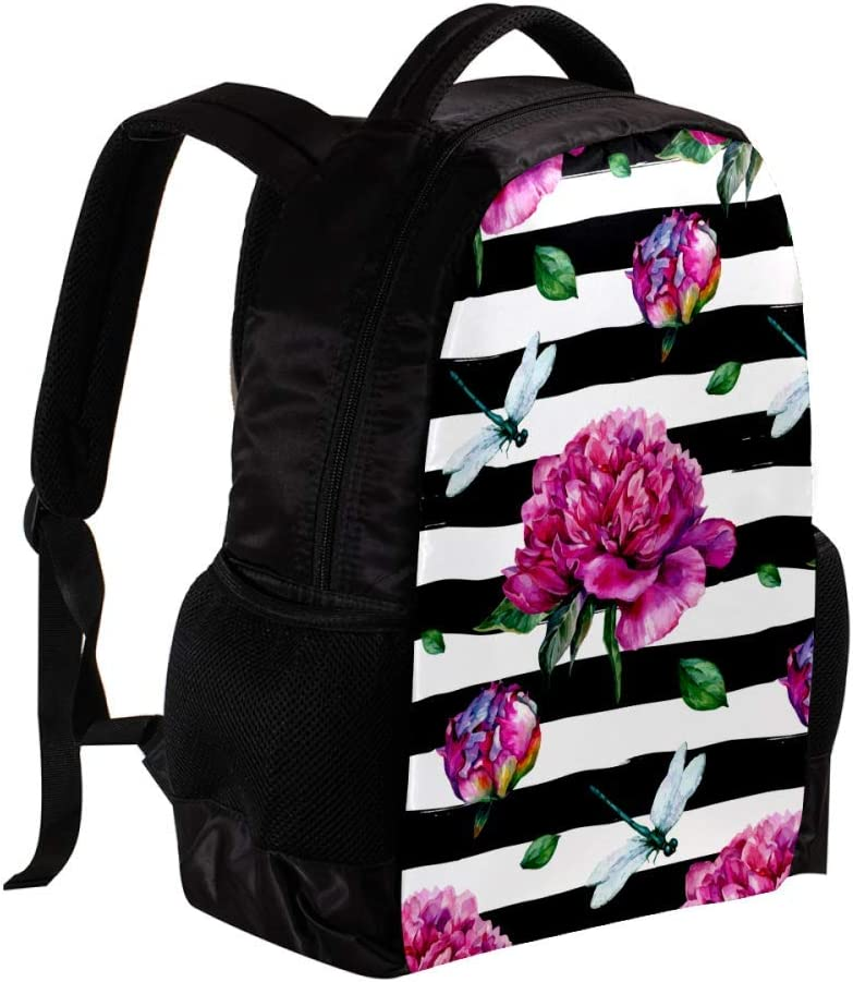 MAPOLO Watercolor Peony and Dragonfly School Backpack Travel Bag Rucksack College Bookbag Travel Laptop Bag Daypack Bag for Men Women