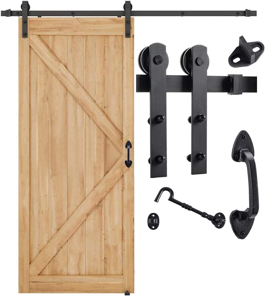 Home Master Hardware 6.6 FT Heavy Duty Sturdy Sliding Barn Door Hardware Kit (Whole Set Includes 1x Pull Handle Set & 1x Floor Guide & 1x Latch Lock) Fit 36