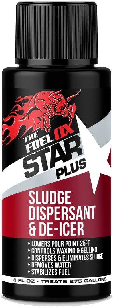 Fuel Ox Star-Plus - Complete Heating Oil Treatment & AntiGel - Treats of Heating Oil - Removes Water & Sludge - Reduces Pour Point by 25°F - Contains Antioxidants for BioFuels (8oz)