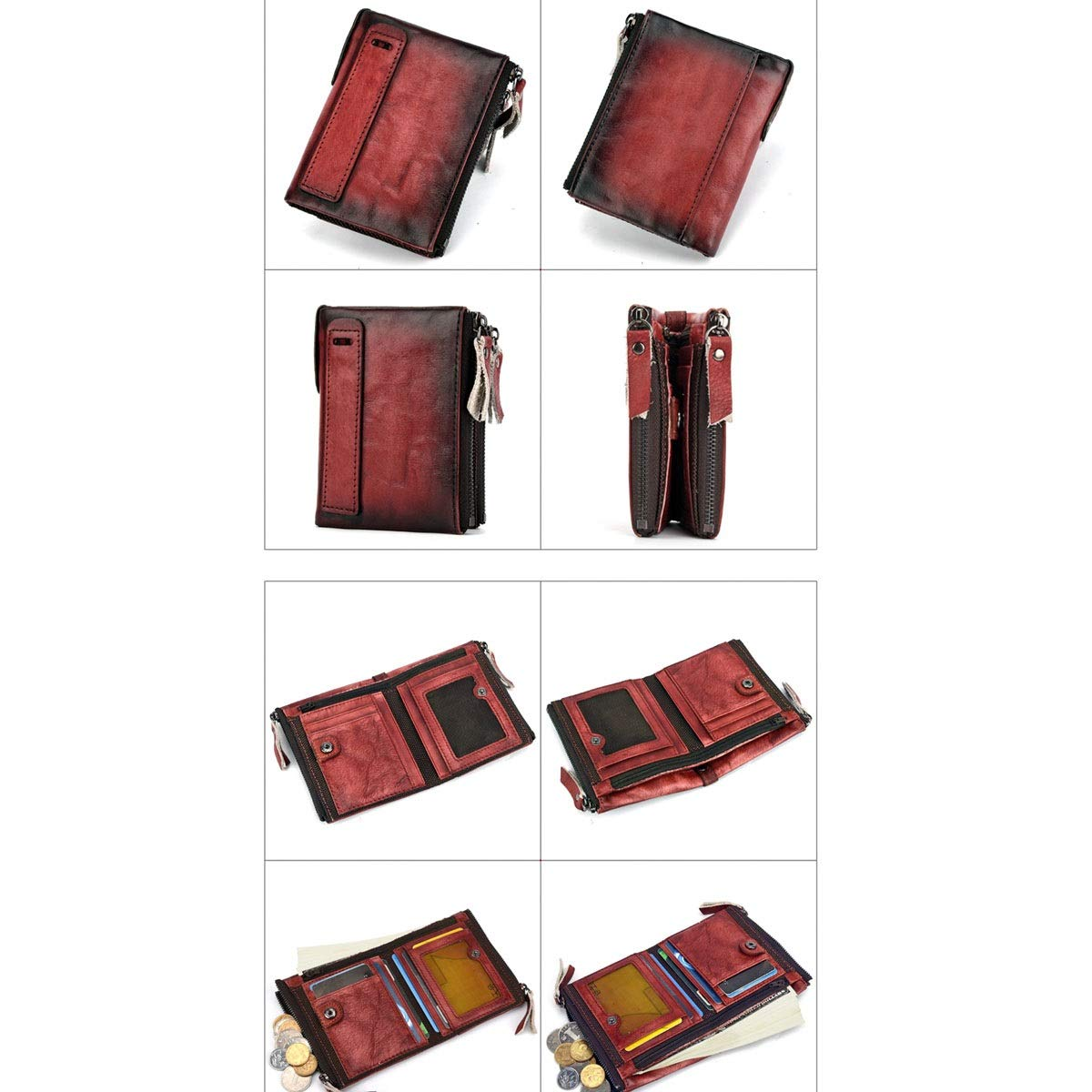 Kalmar Wallet for Man Cowhide Short Retro Multi-Layer Mens Size 12 9 3cm Stealth Mode Blocking Leather Wallet Color : Red, Size : L