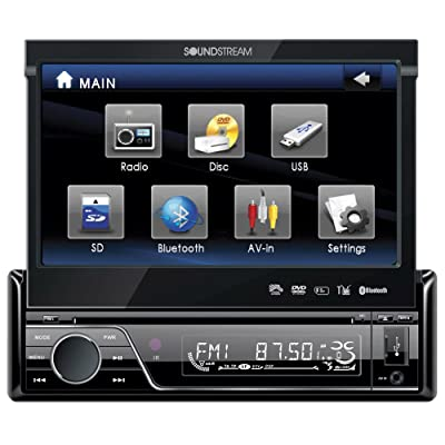Soundstream VIR-7830B Single-Din Bluetooth Car Stereo DVD Player with 7-Inch LCD Touchscreen: Car Electronics