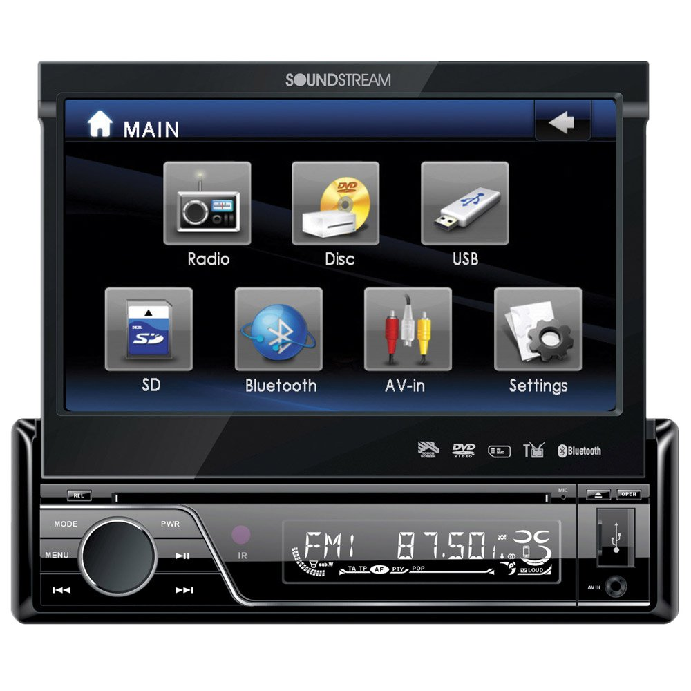 Soundstream VIR-7830B Single-Din Bluetooth Car Stereo DVD Player with 7-Inch LCD Touchscreen by Soundstream