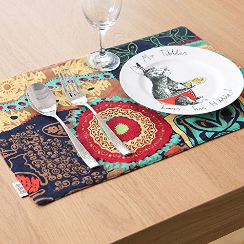 Set of 4 Placemats, Exotic Boho Style Dining Manual Placemats Red Table Mats Decoration Hotel Coffee Dining Table Mats 18