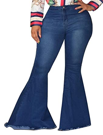 e31fe734dc42d5 Fubotevic Women's Plus Size High Rise Cutoff Denim Casual Bell-Bottom Flare  Pants Dark Blue