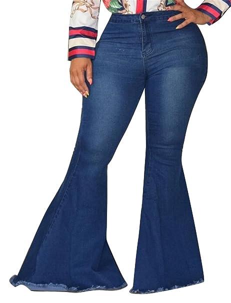 98849102ad4 ARTFFEL-Women Casual High Rise Cutoff Denim Plus Size Bell Bottom Flared  Pants Dark Blue