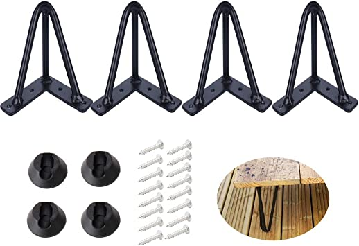 Heavy Duty Metal Hairpin Furniture Leg for Coffee Table and Patio Bench Osring 16 Inch Hairpin Table Legs with 1//2 Dia 3-Rods 4 Pack Gold Hairpin Feet with Floor Protectors for Home DIY Project