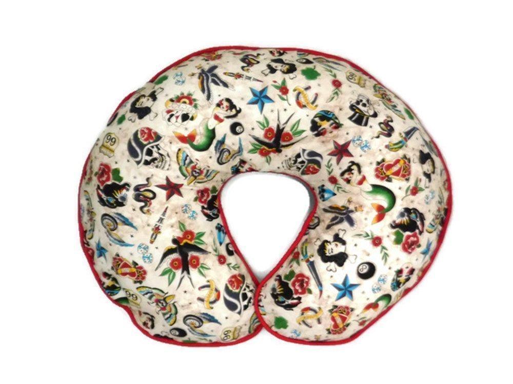 Nursing Pillow Cover Tan Retro Biker Tattoo for Baby Boy or Girl