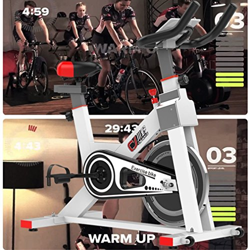 Stationary Exercise Bicycle Trainer by Coldcedar | Belt Driven Exercise Bike Indoor Cycling Bike Cycling Trainer w/ Water Bottle Cardio Health Home Workout Fitness Equipment(White, Model:S401)