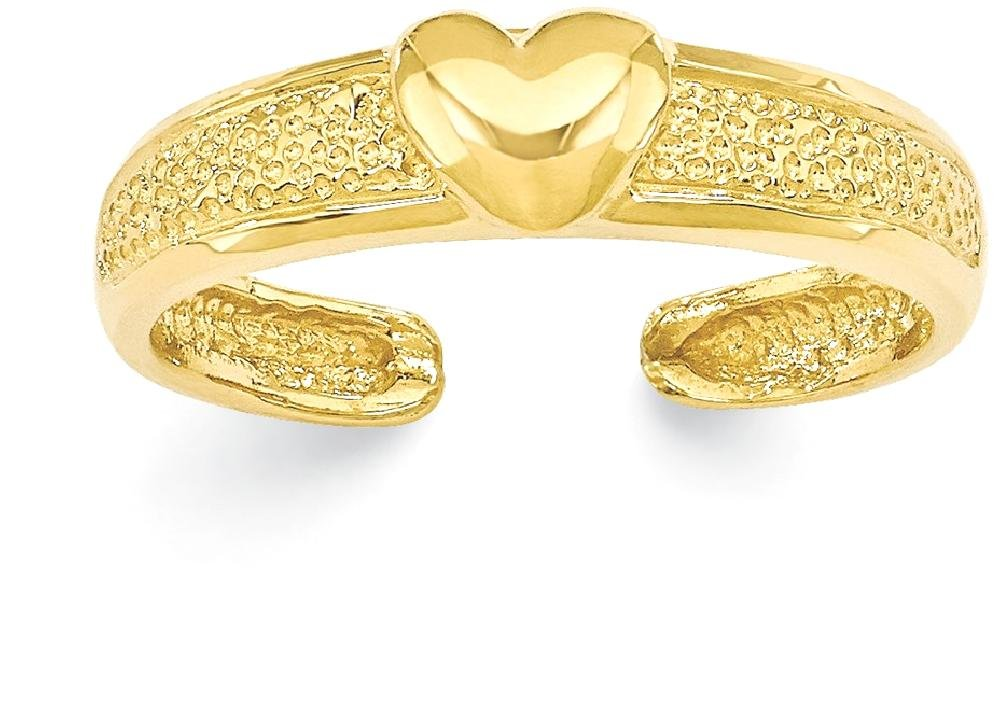 ICE CARATS 14k Yellow Gold Heart Adjustable Cute Toe Ring Set Fine Jewelry Gift Set For Women Heart