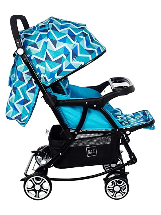 Baby Pram with Adjustable Seating Positions and Reversible Handle (Light Navy Blue)