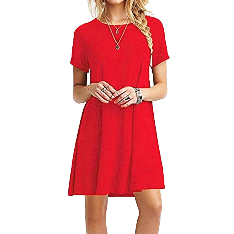 TALLA L. ZNYSTAR Mujer de Camiseta Suelto Casual Cuello Redondo Mini Vestidos Rojo L