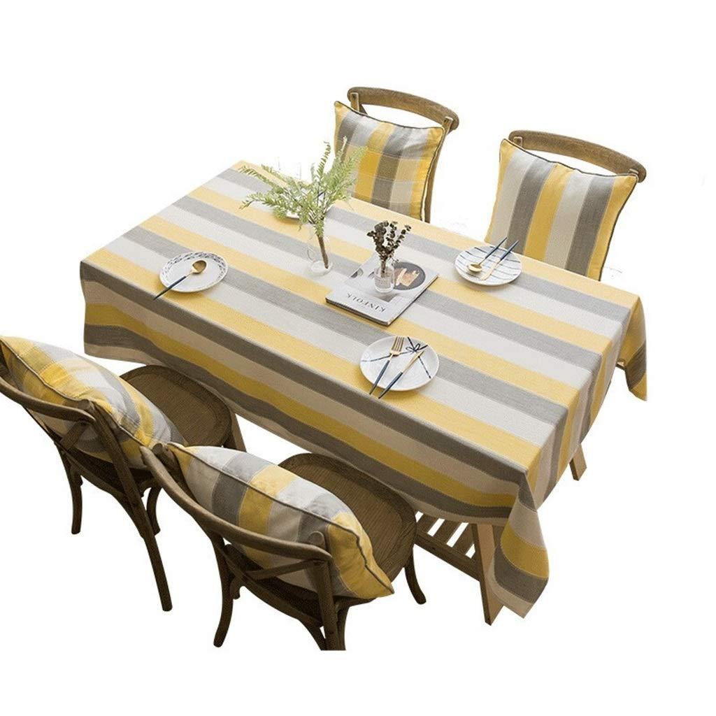 Giallo Bianco-Grigio 123 Cotone e Lino con Nappe Tovaglie a Righe Colorate per tovaglie rettangolari da Interno ed Esterno Zxj Tovaglia Size : 60cm*60cm