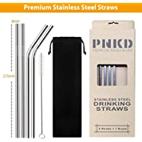 PNKD Stainless Steel Drinking Straws, Set of 6 Items Eco Straws, Reusable Metal Drinking Straws 6mm x 215mm in Premium Paper Box, 2 Straight + 2 Bent + 1 Brush and a Free Black Cloth Bag