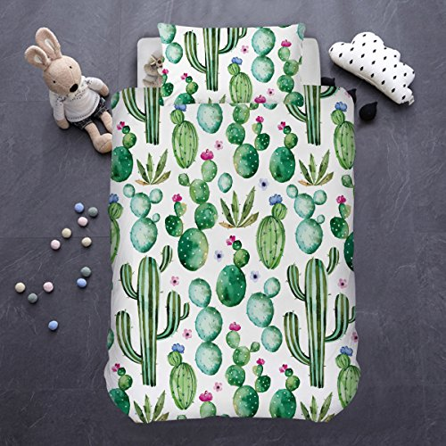 ARIGHTEX Cactus Bedding Summer Plant Succulent Bedspread 2 Piece Kids Girls Dorm Green Natural Duvet Cover (Single) ()