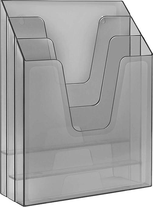 Acrimet Organizador Vertical Triple Para Carpetas y Papeles (Color Gris Humo Transparente)