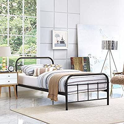 "Modway Maisie Steel Metal Farmhouse Platform Full Bed Frame With Headboard In Brown - Rustic Cottage Metal Platform Bed; Maximum weight capacity 1323 lbs.; Box_2_Height 78; Box_2_Width 6; Box_2_Length 4; Box_2_Weight 14; Box_1_Height 46; Box_1_Width 39; Box_1_Length 4; Box_1_Weight 34; Total Shipping Weight 48; Product Weight 40; Assembly Required Y; Product Dimensions Overall Product Dimensions: 42""L x 79.5""W x 36.5""H Powder Coated Sturdy Steel Frame Integrated Headboard / Footboard - bedroom-furniture, bed-frames, bedroom - 61P1gzufYiL. SS400  -"