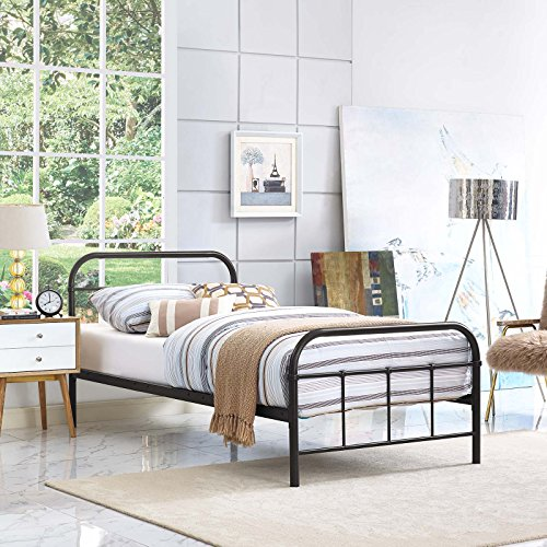 61P1gzufYiL - Modway MOD-5531-WHI-SET Maisie Stainless Steel Bed Frame, Twin, White