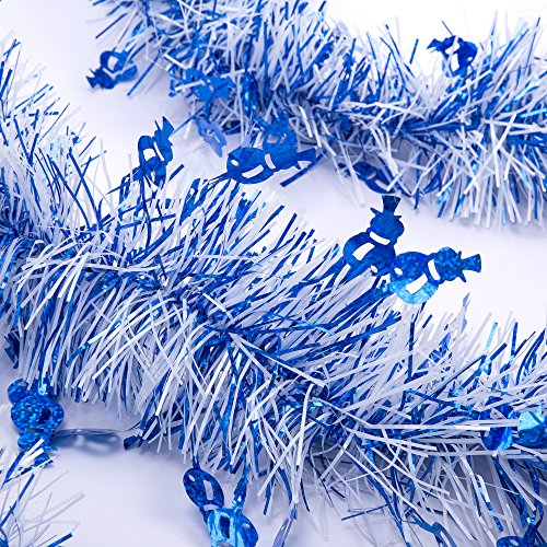ipegtop 3Pcs 6.6FT Hanging Tinsel Garland, Classic Christmas Wedding Party Holiday Tinsel Ornaments Christmas Tree Decorations, White & (Blue Snowman)