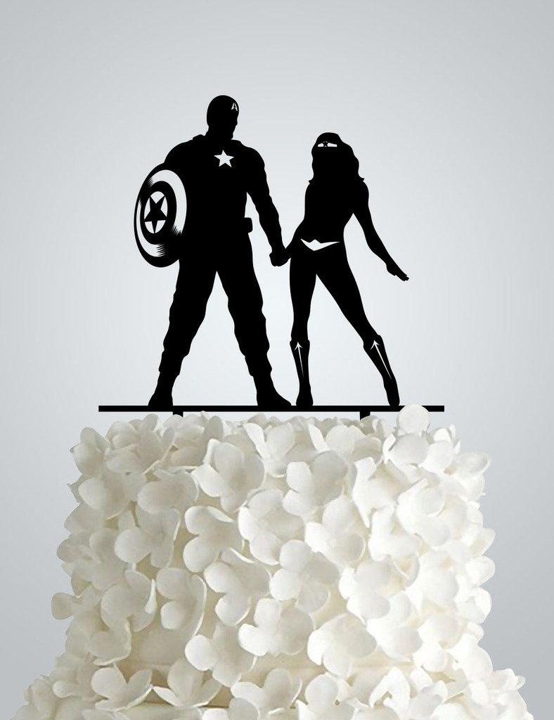 Acrylic Wedding cake Topper inspired by Captain America and Wonder woman