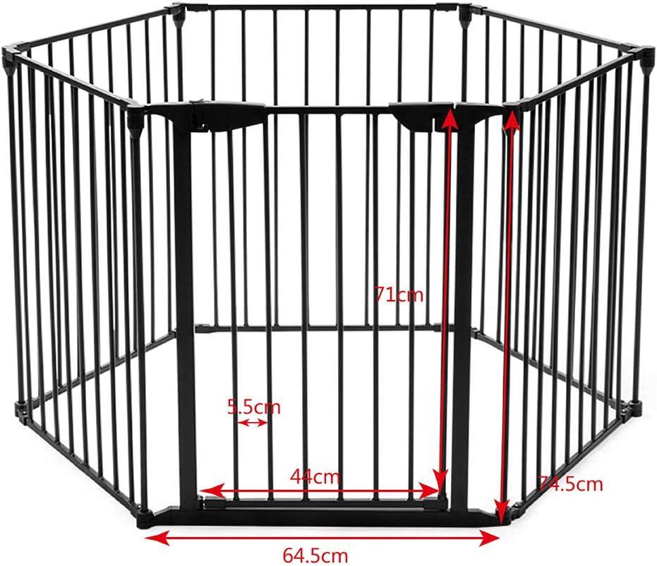 Noir porte inclus 380x74,5cm RELAX4LIFE 6 panneaux Barri/ère de S/écurit/é enfant multi-fonction en Fer,Grille de Protection Extensible pour B/éb/é Animaux Chemin/ée Escalier,Cl/ôture de Chemin/ée pliant
