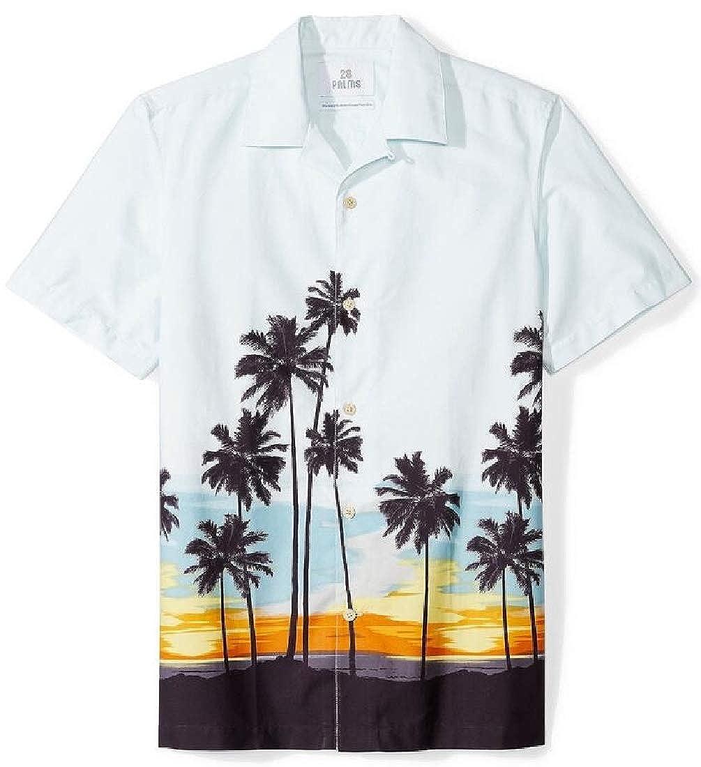 Domple Mens Summer Short Sleeve Hawaii Button Up Beach Printed Shirt