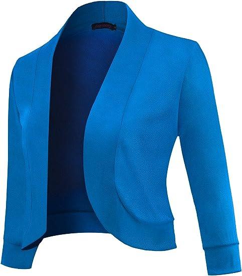 Blue Womens 3//4 Sleeve Cropped Bolero Shrug Open Front Cardigan