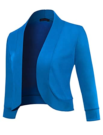 4dea778fa2a8c Anmery Womens 3/4 Sleeve Cardigan Slim Fitted Petite Cropped Open Front  Women's Bolero Shrug