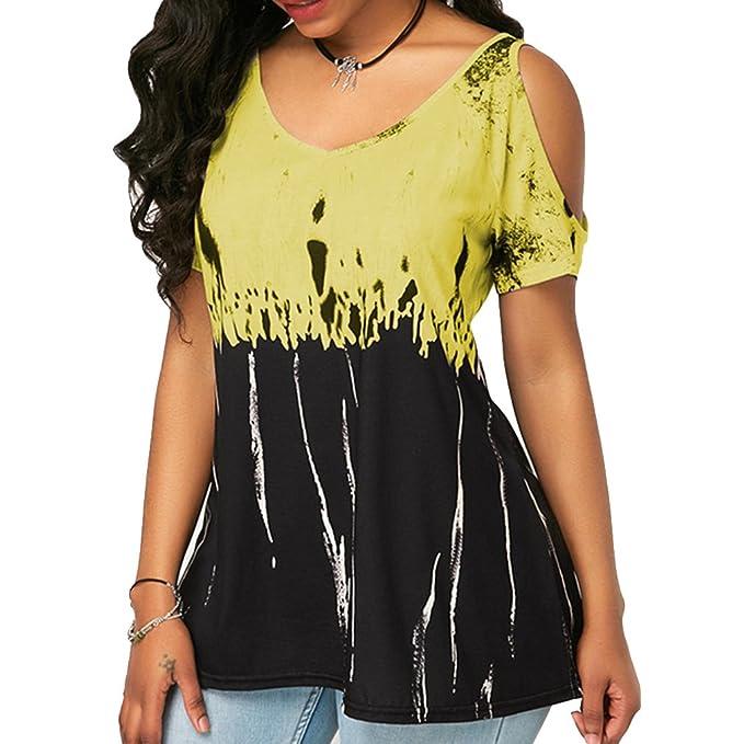 Verano Camisas De Hombro Frío Blusas Tops del Camisetas Manga Corta Camiseta Casual Camiseta para Mujer Moda Imprimir Camisas Ropa de Mujer 6 Colores S-5XL: ...