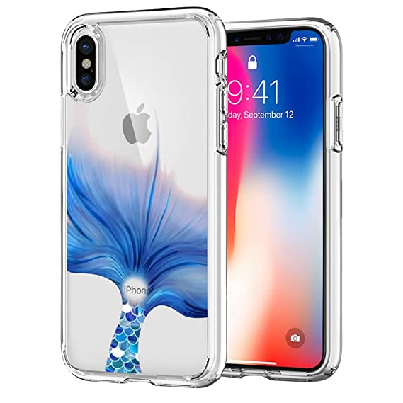 sports shoes bb03d 946e7 iPhone X Case, iPhone Xs Case, CZbobo Blue Mermaid Tail Slim Clear Soft  Silicone Gel Protective Case UV Printing Cover for Apple iPhone X iPhone Xs