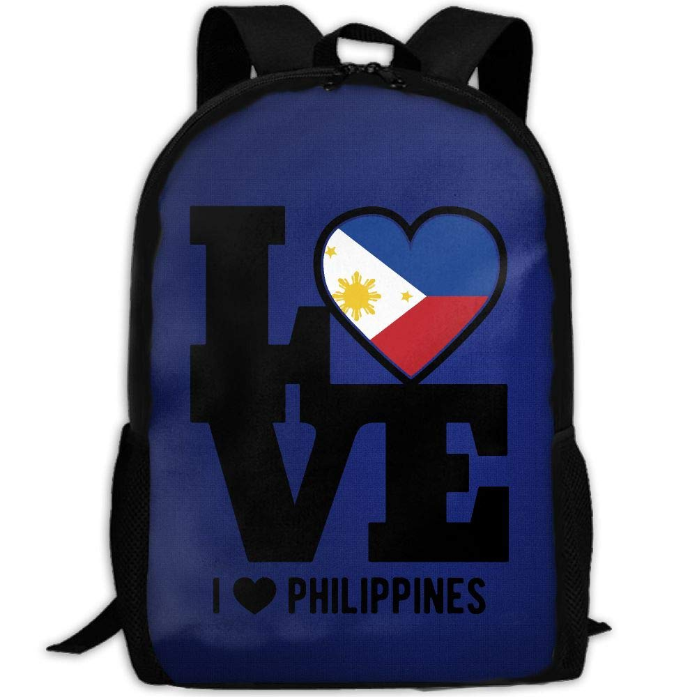 OIlXKV I Love And Heart The Philippine Print Custom Casual School Bag Backpack Multipurpose Travel Daypack For Adult