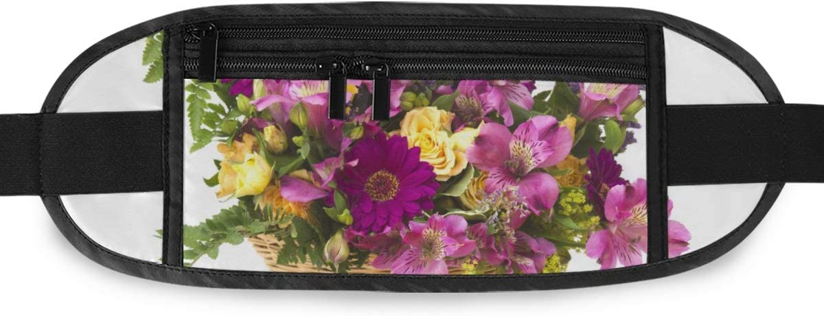 Colorful Flowers Basket Running Lumbar Pack For Travel Outdoor Sports Walking Travel Waist Pack,travel Pocket With Adjustable Belt
