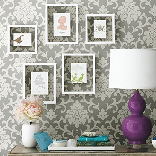 RoomMates Gray Damask Peel and Stick Wallpaper