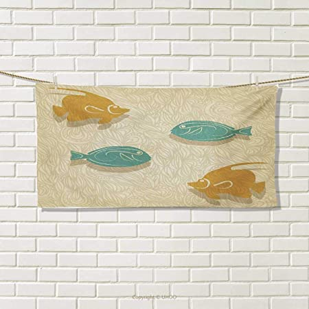 Chaneyhouse Fish And Wave Hand Towel Aquarium Marine Ocean Themed