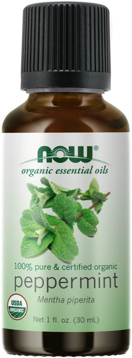 NOW Essential Oils, Organic Peppermint Oil, Invigorating Aromatherapy Scent, Steam Distilled, 100% Pure, Vegan, Child Resistant Cap, 1-Ounce