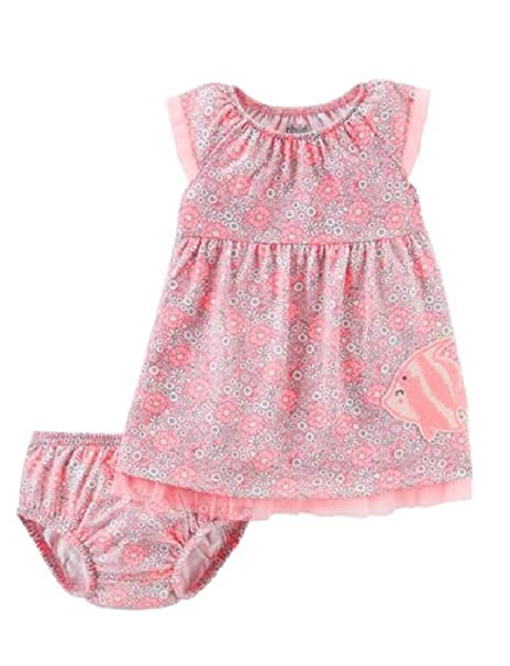 2f3080b77 Baby Girls Child of Mine By Carter's Pink Floral Dress w Diaper Cover (12  Months