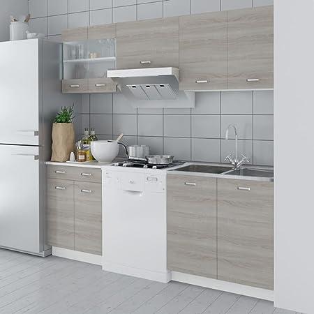 Lingjiushopping Kitchen Cabinets Set Oak Wood 5pcs 200cm Features Kitchen Cabinets Amazon Co Uk Kitchen Home