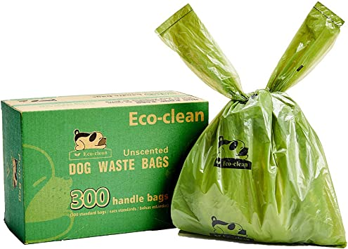 ECO-CLEAN Dog Poop Bags, 300-Count Dog Waste Bags with Easy-Tie Handles, Guaranteed Leak-Proof, Earth-Friendly, Unscented OXO-Biodegradable Pet Poop ...