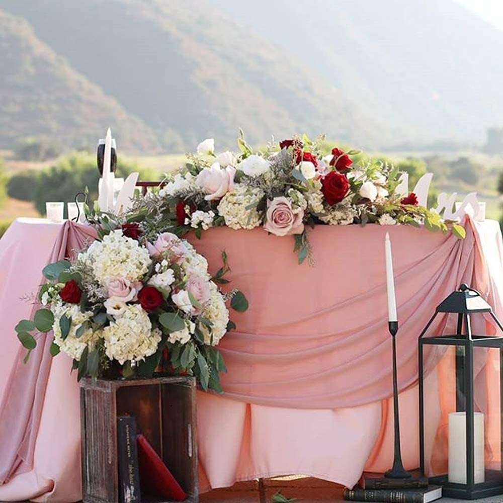 Acrabros-Chiffon-Table-Runner,10 Ft (28X120 Inches) Dusty Rose Table Runners for Rustic Wedding Event,Birthday Party,Baby Shower Decorations