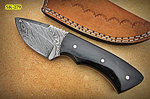SK-279, Custom Handmade 5.4 Inches Damascus Steel Skinner Knife - Beautiful Buffalo Horn Handle