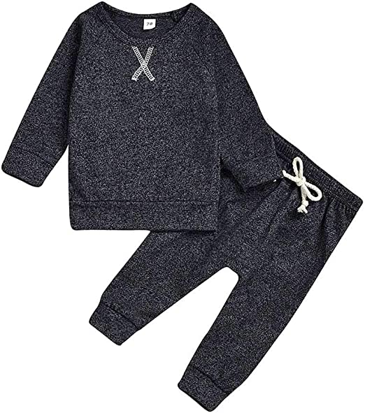 Toddler Kids Baby Girl Boy Long Sleeve Winter Tops+Pant Outfit Set Shimmer 1-4Y