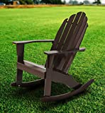 Fullrich Industries Co Wood Adirondack Rocking Chair, Dark Brown
