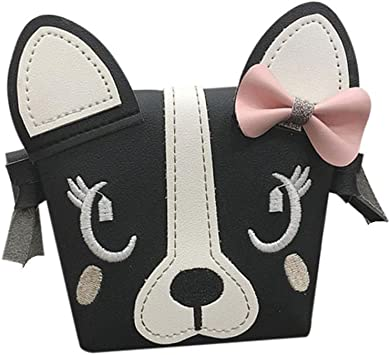 Kids Girls Mini Crossbody Bag Dog PU Handbag Fashion Child Shoulder Bag Purse
