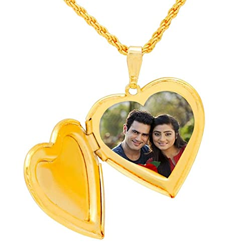 RN 24K Gold Plated Forever in My Love Heart Small Size Openable Heartshape  Photo Momento Locket Jewellery 24K Yellow Gold Brass Pendant