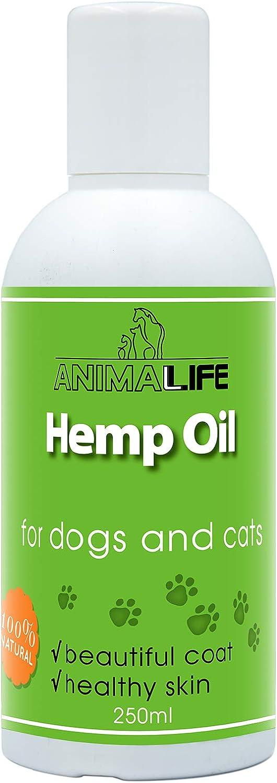 Aceite de Cañamo para Perros & Gatos 250ml - 100% Natural Aceite de Cáñamo - Mejora el Sueño de las Mascotas - Suplemento Omega 3 6 9 - Aliviar la Ansiedad - Ayudar a la Salud