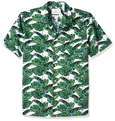 28 Palms Men's Standard-Fit 100% Cotton Tropical Hawaiian Shirt, Green/White Banana Leaf Large