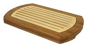 """Simply Bamboo BICT Multi-Purpose Two-Tone Bamboo Crumb Cutting Board/Serving Tray, 16"""" L x 10"""" W, 16 x 10 x 1.2"""