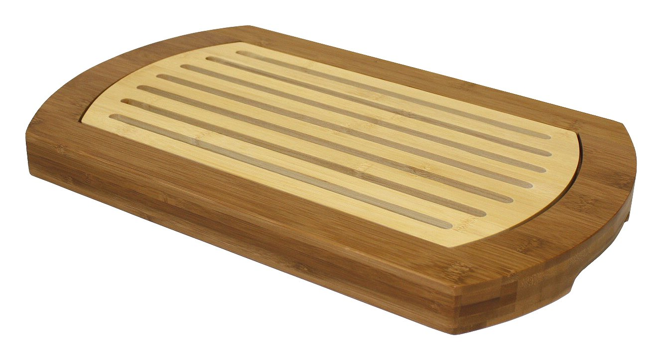 Simply Bamboo BICT Multi-Purpose Two-Tone Crumb Cutting Board/Serving Tray, 16'' L x 10'' W, 16 x 10 x 1.2